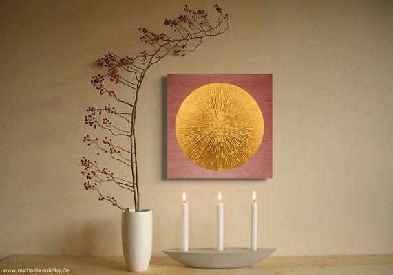 Wandbild Sonne mit Echtvergoldung, Meditationsraum - Kontemplation, Gebet und Meditation
