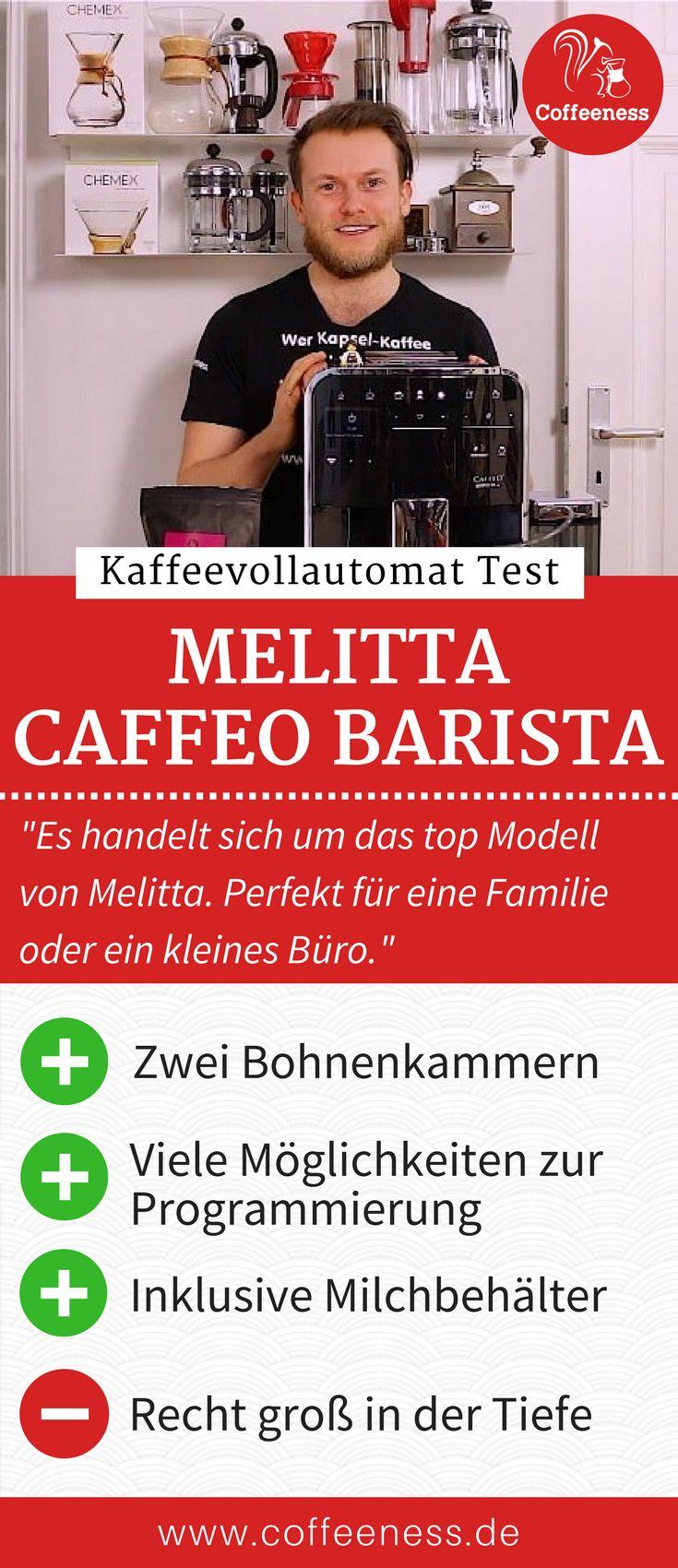 """Die """"Caffeo Barista"""" Kaffeevollautomaten sind die Spitzenmodelle von Melitta. Es handelt sich um die größten Vollautomaten von Melitta mit den meisten Funktionen. Warum die Qualität des Milchschaums besonders gut ist und wie der Kaffeevollautomat im Vergleich zur Konkurrenz abschneidet erfährst du im ausführlichen Test auf www.coffeeness.de. #Kaffeevollautomat #Coffeeness #Kaffee #Küche"""