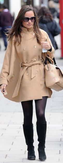 Pippa Middleton  Purse – Milli Millu    Coat – Alice Temperley Cape Coa