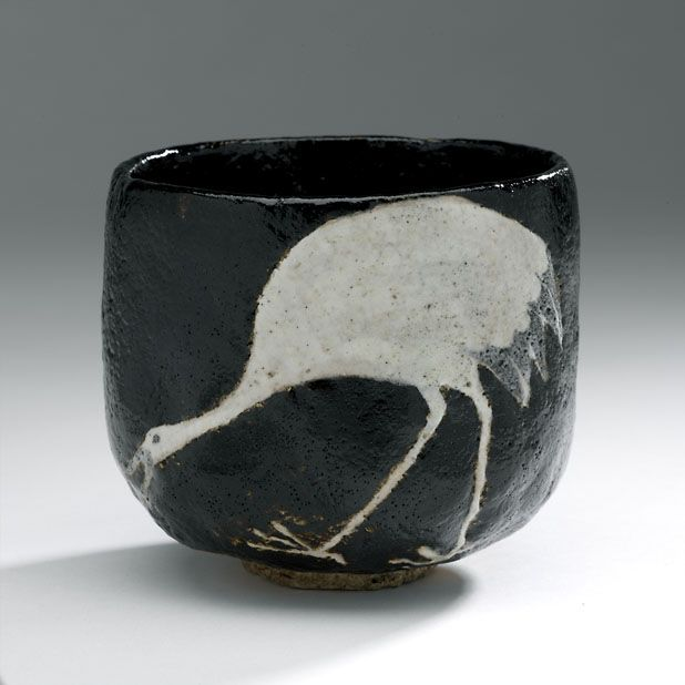 Chawan (tea bowl) of Raku type Kyoto ware with crane Takahashi Dôhachi III (1811-1879).; Raku type, Kyoto ware. Earthenware with raku glaze Centimetres: 9.4 (height), 10.2 (outside diameter) 1840 - 1879 AD Early Modern; Edo - Meiji Periods Area of Origin: Japan. ROM Images