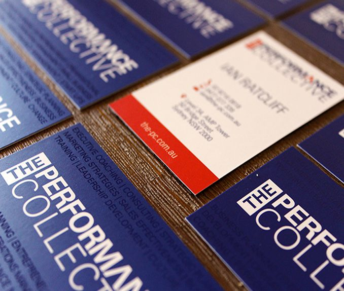The Performance Collective Business Cards featuring UV spot finish on the business' service offering.