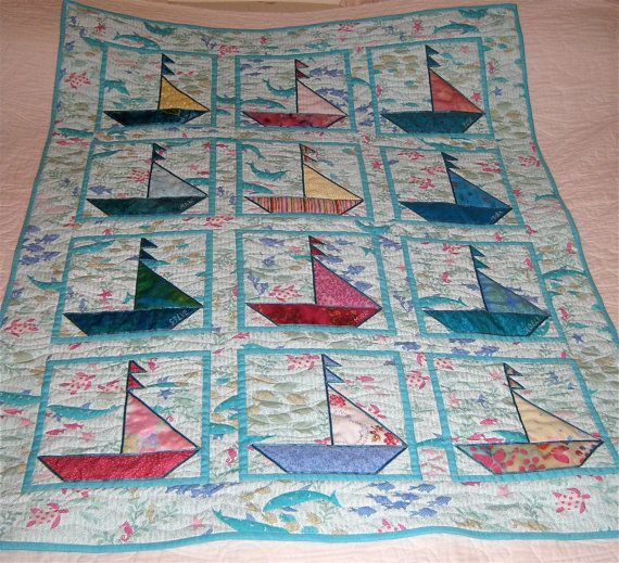 Sailboat Baby Quilt Custom Order by ISewTotes on Etsy, $150.00