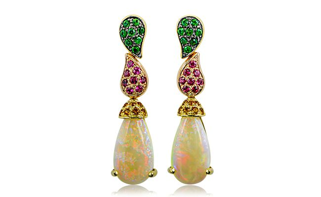 RAINBOWS IN HER HAIR....  These elegant drop earrings showcase a stunning pair of natural pear cut Australian opals, accented with citrines, tsavorites and red spinels. This unique design highlights the beauty and vivid colours within the Australian opals, and is the perfect accessory to any ensemble. Not for the faint of heart, but made for the bold and the beautiful!  Find these at www.anthonys.com.au  #opals #anthonysfj #gemstones #tourmaline #citrine #tsavorite #rosegold #naturalbeauty