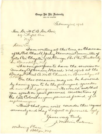 Letter from Omega Psi Phi Fraternity to W. E. B. Du Bois, February 24, 1926