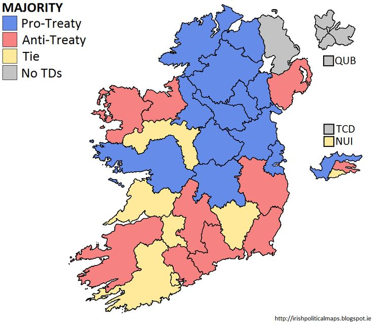 Irish Political Maps: Historical Map: The Anglo-Irish Treaty, 1921 - The Treaty was debated in Dáil Éireann from December 1921 until January 1922. When voted upon, it was ratified by 64 votes to 57. Upon the ratification, the Anti-Treaty side, led by de Valera, walked out of Dáil Éireann. The divisions which took place in the Dáil quickly spilled out on to the streets, and the soon-to-be Irish Free State was plunged into civil war.