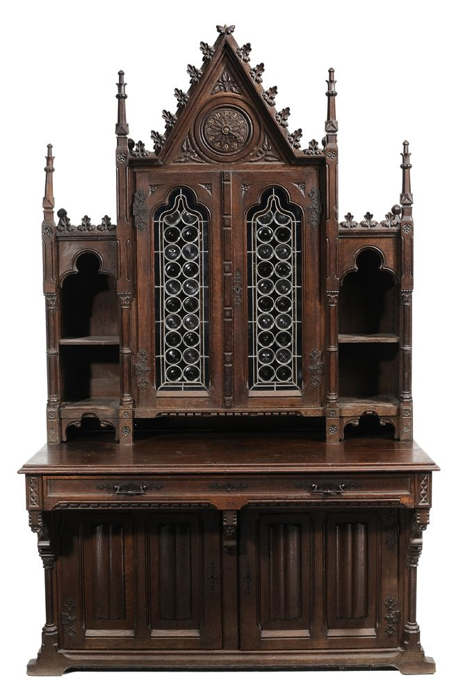 Gothic Revival Cathedral-Form Carved Oak Cabinet Second half 19th century