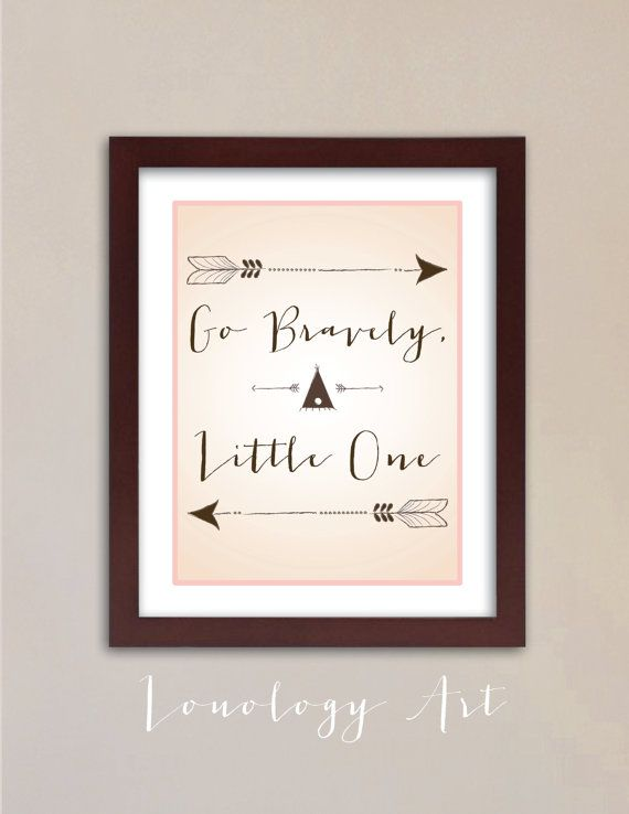 Printable Art for Baby Nursery - Native American Surfer Theme - 8x10 - Go Bravely - Color Options for Boys and Girls - $12.00 - By Lou-ology Art on Etsy.com
