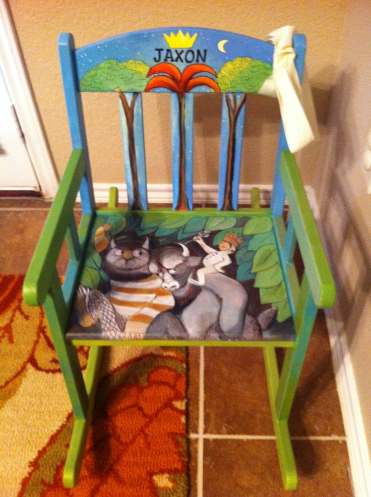 Where the wild things are party - hand painted chair