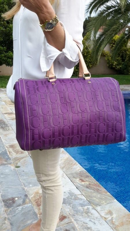 New 100% Authentic Carolina Herrera Andy 10 Purple Handbag
