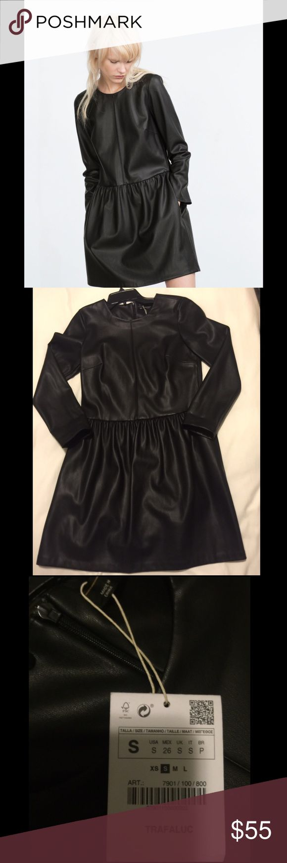 NWT ZARA TRAFALUCA LEATHER DRESS - M NWT ZARA TRAFALUCA LEATHER DRESS - M. This dress is labeled SMALL but it is definitely a medium. I bought for myself and didn't try on and it's definitely not a small but SOO cute I had to Posh. ♏️ - $40 / RETAIL: $88 Zara Dresses