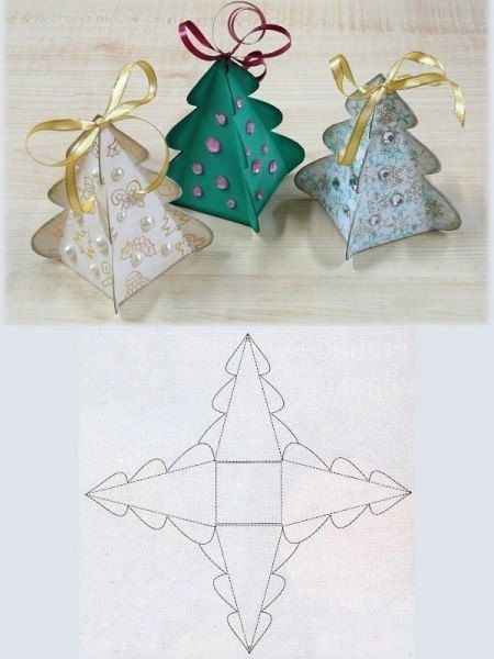 Folded Christmas tree box style. Image only.