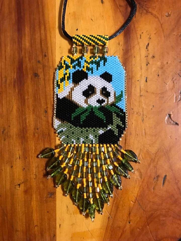 Panda peyote beaded necklace