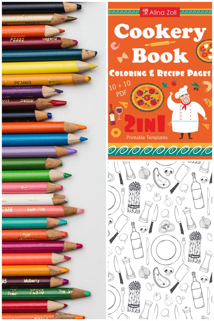 2 in 1 Cookery Coloring Book & Recipe Cards Coloring Recipe Pages & Food