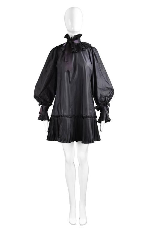 Gina Fratini Vintage Black Silk Taffeta Origami Pleat Mini Dress, 1970s