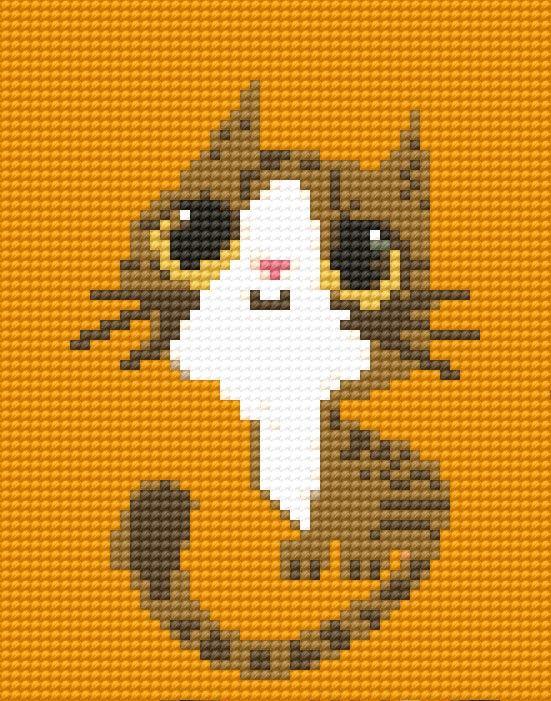 Cat cross stitch. Animal cross stitch.