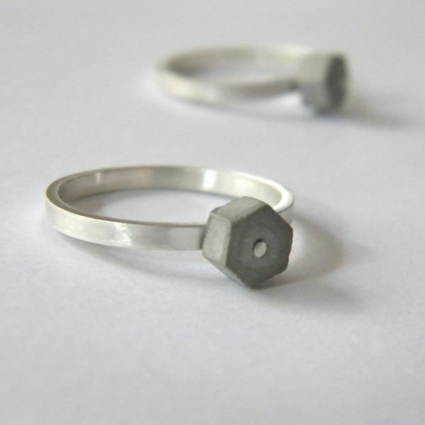 Concrete Stackable Concrete Hexagon Ring, by BAARA Jewelry. Concrete and sterling silver stacking ring