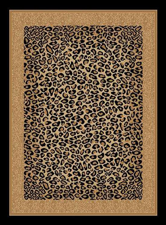 Modern Rugs Beautiful Leopard Skin Animal Print Area Rug Bordered Exotic Carpet