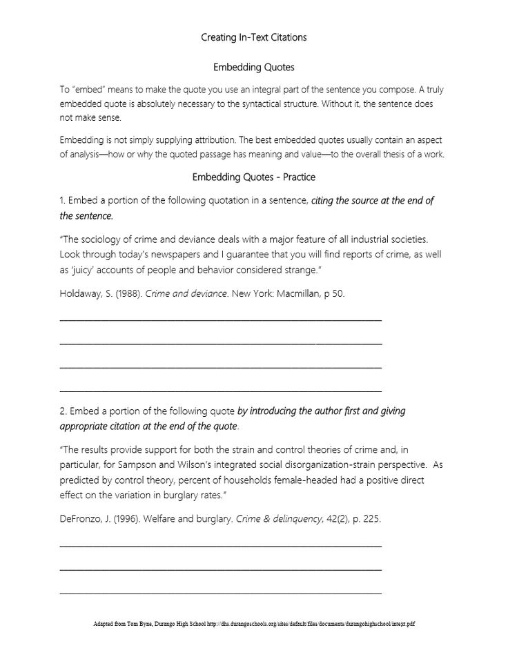 In Text Citation Worksheet.pdf   Quotes, Texts, Worksheets