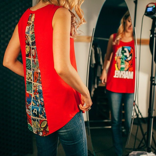 """""""Here's another behind the scenes look at our new #Marvel collection at @jcpenney. How cool is the back of this tank?! #StyledByMarvel"""""""