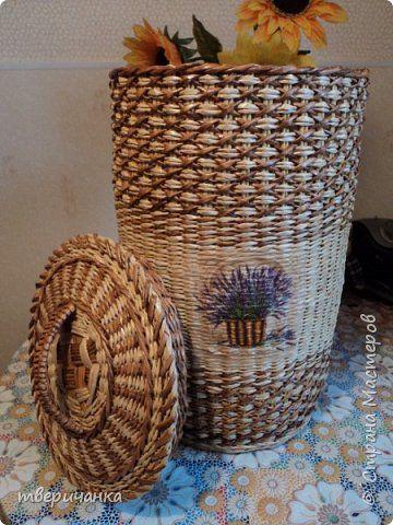 Короб для белья. высота 50 см, диаметр вверху 32 см. фото 1