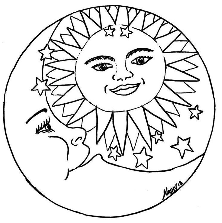 225 best images about coloring pages on pinterest for Sun moon coloring pages