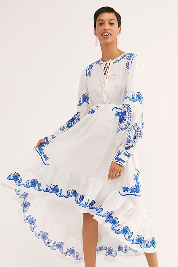 6a0631360e3 Colette Maxi Dress - White Long Sleeve Maxi Dress with Blue Embroidered  Detail - White and Blue Maxi Dress - Greek Inspired Maxi Dress - Summer  White and ...