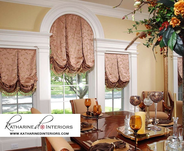 Katharine D Interiors Custom Window Treatments Valance In Formal Dining Room