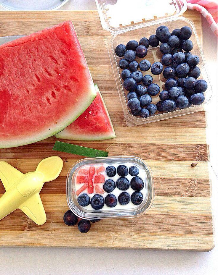 Australia Day blueberries , watermelon , yogurt