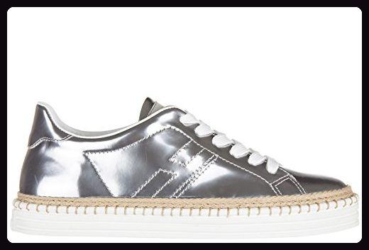 Hogan Rebel Damenschuhe Turnschuhe Damen Leder Schuhe Sneakers rebel r260 Silber EU 37.5 HXW2600U5601ONB200 - Sneakers für frauen (*Partner-Link)