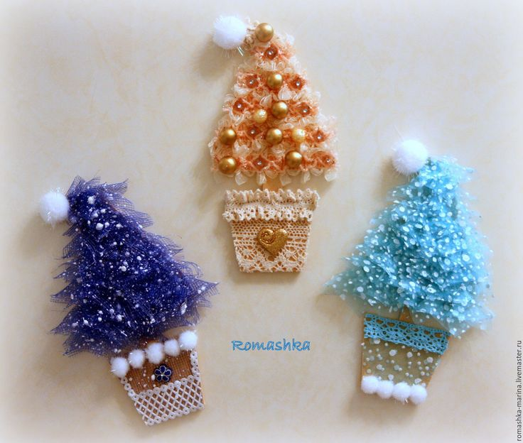 Купить Новогодние елочки на магнитах - разноцветный, белый, зеленый, елочка новогодняя, елочки на магнитах