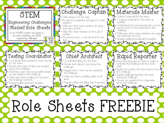 STEM Challenges ~ FREE Student Role Sheets!!!