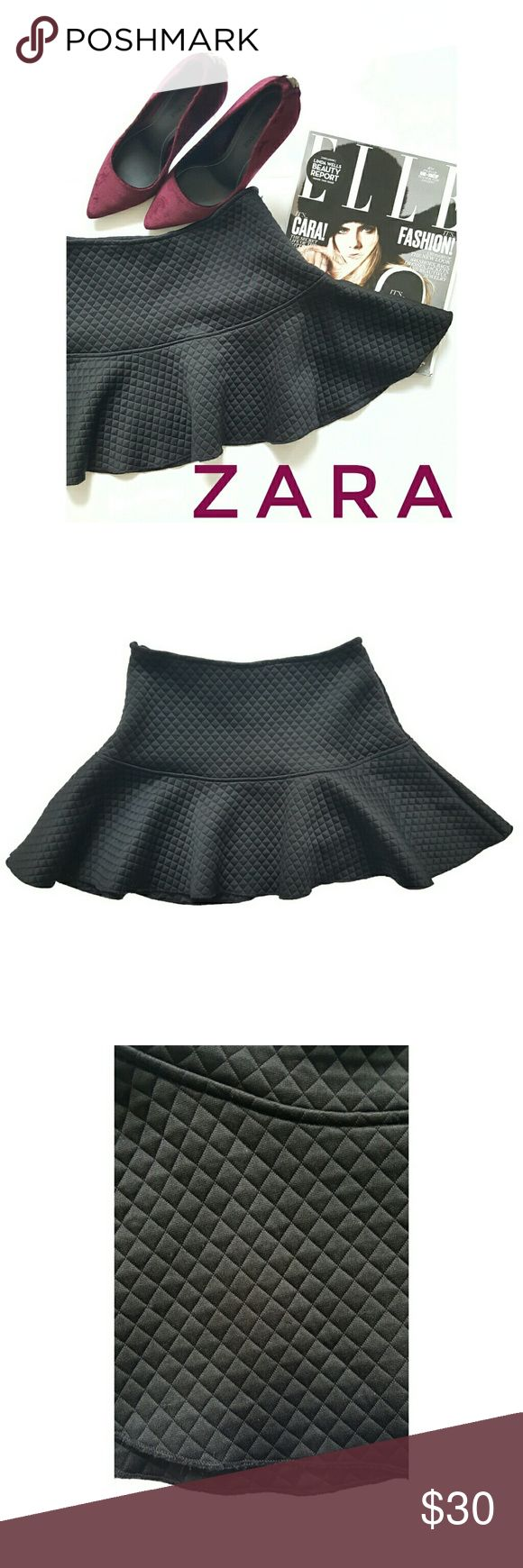 """Zara Black Mini Flare Skirt Zara W&B Collection Black Mini Flare Skirt. Has some minor pilling throughout but still in good condition. See detailed pictures. This mini skirt goes great with a nice blouse and heels!  Size: S  Waist: 24"""" Length: 12 1/2"""" Zara Skirts Mini"""