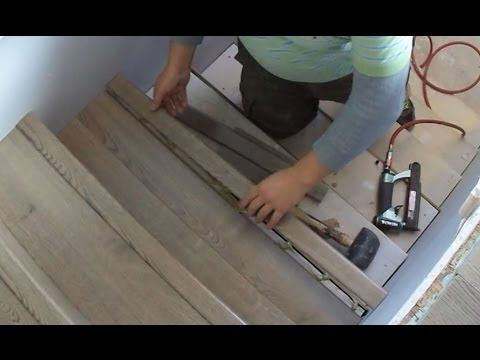 Laminate Stairs Installation How to Install Stair Tread Riser Overlap Nose Tips Mryoucandoityourself - YouTube
