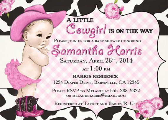 Cowgirl Baby Shower Invitation For Girl  Vintage by jjMcBean