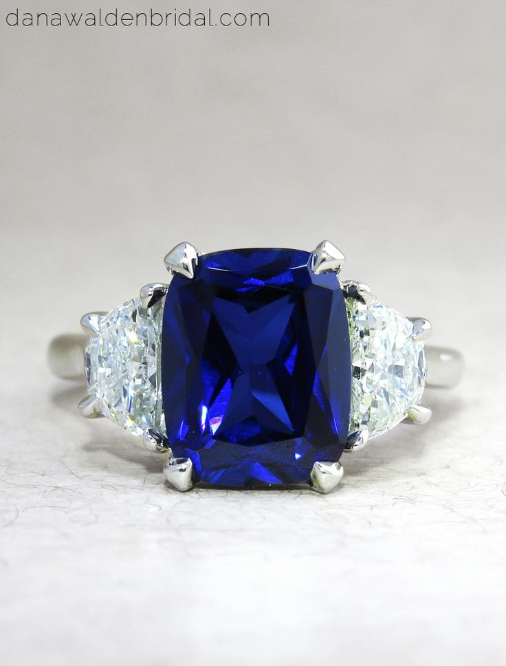 "Engagement Rings in blue sapphire & diamonds by Dana Walden Bridal, NYC - 3 Stone ""Alexandra"" in platinum"