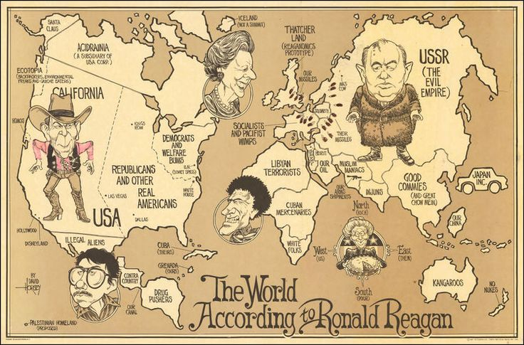 25 best satirical maps images by geogragift on pinterest europe the world according to ronald reagan second version cartoon map of created by the american cartoonist david horsey as a second version of a map called gumiabroncs Choice Image