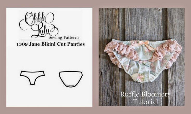 Оооо Лулу ...: Оооо Лулу Pattern хаки: Джейн Бикини Cut Трусики для рюшами Bloomers.