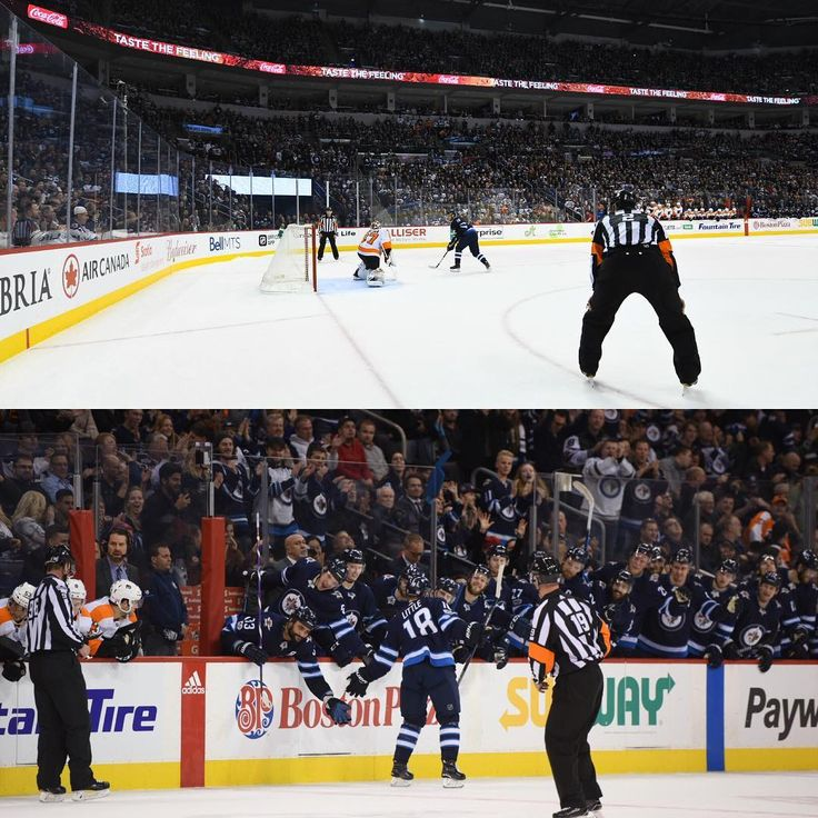 Bryan Little scored a carbon copy goal to his last one (vs Arz) in 4th round of the shootout. Celebrate with some lo-fives at the bench.  Both Scheifele and Laine scored beauties as well.  Photo Credit: @colby_spence #NHL #hockey #winnipeg #nhljets #winnipegjets #philadelphiaflyers