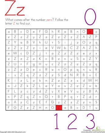 Worksheets: Letter Maze: Z