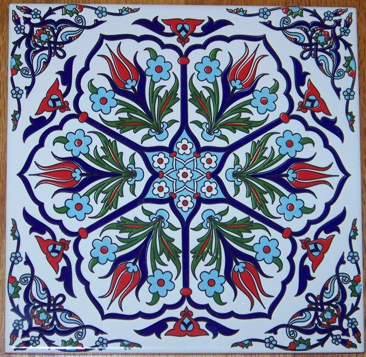 "Ottoman Iznik 6 Tulip Design 8""x8"" (20cm) Turkish Ceramic Tile Trivet Hot Plate in Pottery & Glass, Pottery & China, Art Pottery 