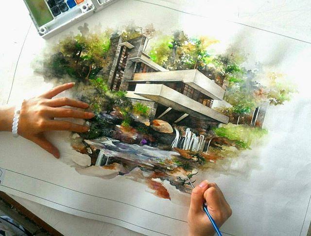 Falling Water House sketch by @chelseamutama ________________________________ #dearchies #sketch #architecturalsketch #architecture #architect #archilovers #arch #dailysketch #arch_more #architectural #render #rendering #handdraw #design #designer #art #draw #architecturestudent #drawing #arquitectura #illustration #concept