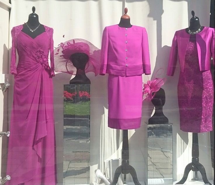 Fabulous fuchsia outfits in our window this week.  Which would you wear to that special occasion? #weddings #dresses #motherofthebride