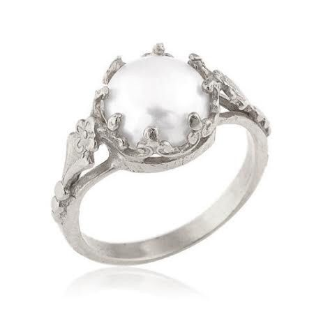 White Gold Pearl Ring, 18k Gold Freshwater Cultured Pearl Engagement Ring, Vintage Style Engagement Ring, Unique Engagement Ring by netawolpe on Etsy https://www.etsy.com/listing/152412820/white-gold-pearl-ring-18k-gold