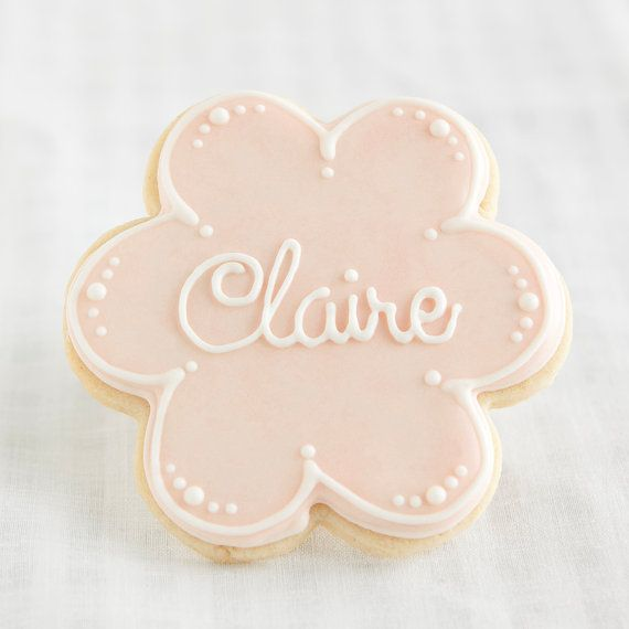 Flower Cookie Favors Personalized Name  1 doz  by PastryTartBakery, $38.50