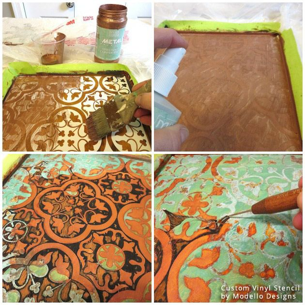 Learn how-to create a fabulous Rustic Patina Pattern on bathroom cabinetry with MY PATCH of BLUE SKY with Debbie Dion Hayes. She used Modern Masters Metal Effects and Modello® Stencils by Royal Design Studio Stencils for these stunning patina and rust stenciled results!