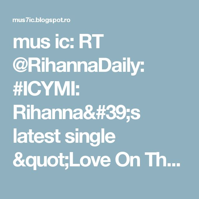 """mus ic: RT @RihannaDaily: #ICYMI: Rihanna's latest single """"Love On The Brain"""" has jumped to #17 on the Billboard Hot 100 and #8 on The Pop So… https://t.co/2xKjGPlIfw"""