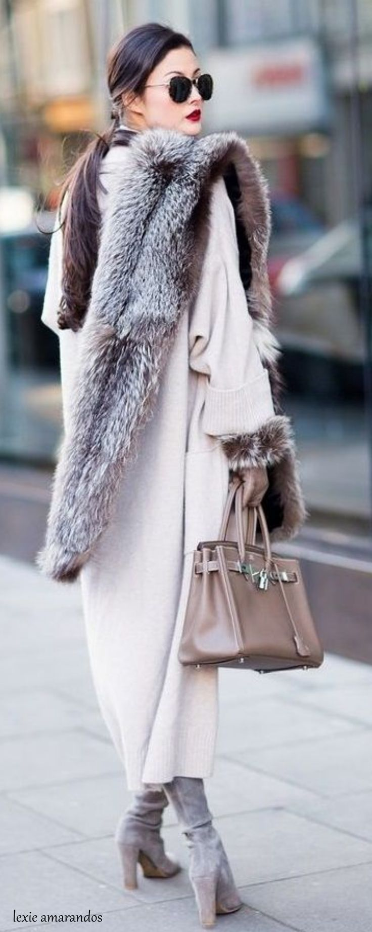 That coat! The fur!! Those boots!!! Love it all. And Hermes ~ Birkin Brown Leather Bag • тнє LOOK BOOK • ✿ιиѕριяαтισи❀ • Babz™ ✿ #abbigliamento