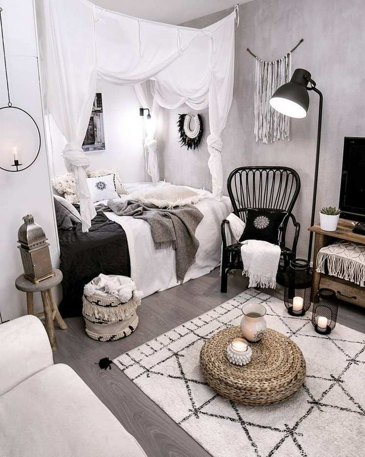 Home Decor Bedrooms Boho white and black bedroom Read