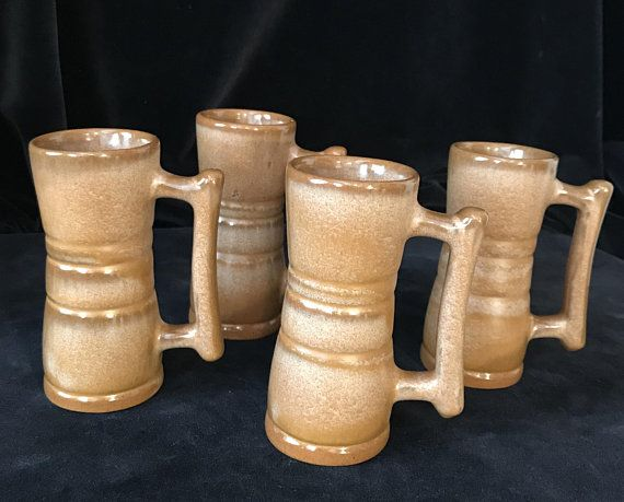 Mid Century Frankoma Pottery Cups Brown Mugs set of 4
