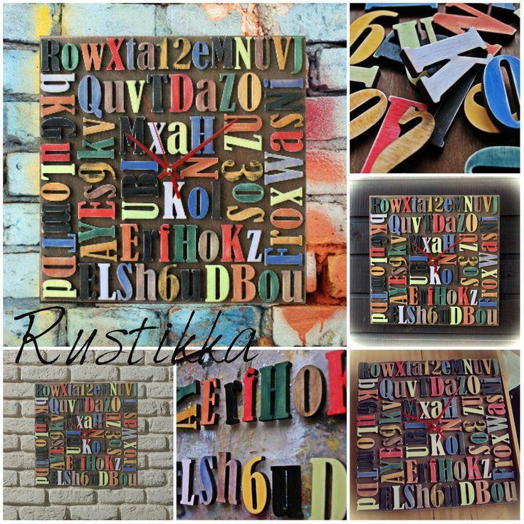 """Модные настенные часы """"Шрифт"""" для лофт пространства #часынастенные#часылофт#лофтинтерьер#часывподарок#оригинальныечасы#буквы#панно#handmade#rustikka#wallclock"""